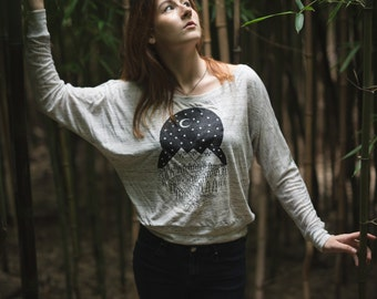 CLEARANCE Moon River Long-Sleeve Top - Loose, Flowy - White Grey, Crop Top - Camping Adventure Clothing, Handmade - Moon, Mountains