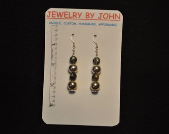 Medium Silver Colored Sparkling Balls with Tiger Eye Beads on Ear Wires