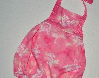 Baby Girl Romper Sunsuit Bubble & Bow Sea Turtle Bodysuit Beach Summer Party  Size 2T