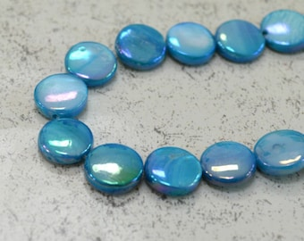 40pcs 10mm Turquoise Blue Shell Beads Mother-of-Pearl Bead Coin Round 15 Inches Strand
