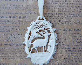 Vintage Pendant Carved Bone Deer Stag Animal