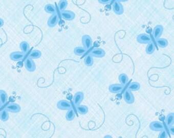 SALE/CLEARANCE Ellen Crimi-Trent, Critters, Butterfly Tonal Blue Fabric - Half Yard