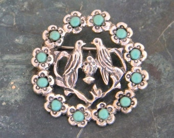 1930's Vintage Lovebirds Wedding Brooch 925 Sterling Silver with Turquoise Inlays