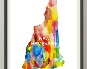 new hampshire state art print wall art decor poster watercolor painting, united state art print wall art