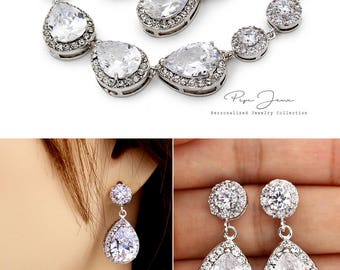 Wedding Bracelet Earrings set Zirconia Rhinestone Bracelet Earrings Wedding Jewelry Bridal Jewelry Bridesmaid Bracelet Bridesmaid Gifts Bao
