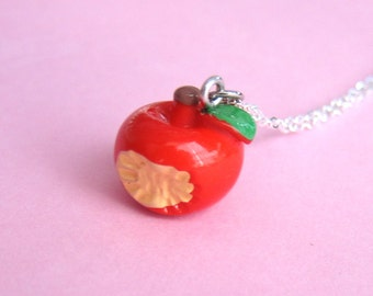 Teacher's Apple Necklace - bitten red apple necklace  (D2B2)