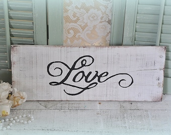 Love wood sign,Shabby chic,cottage repurposed wood,rustic
