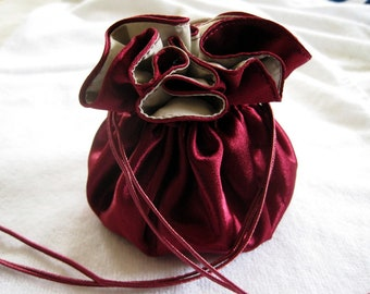 Merlot Travel Jewelry Bag, Dark Red Satin Bag, Jewelry Holder, Gift For Her