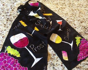 "Mothers Day Wine Gift Present  ""Cheers Wine Sayings"" - Long Hand-Painted Silk Scarf 11""x60"": Grapes, Wines on Hand-Dyed Black Silk"