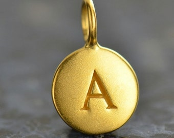 alphabet charm - gold plated letter round initial charms - stamped letter charm