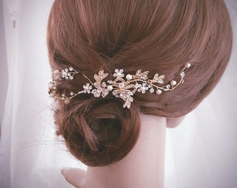 Wedding Hair Vine, Bridal Head Piece, Bridal Hair Accessory, Gold Hair Piece, Silver Hair Accessory, Rose Gold Hairpiece