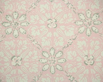 1950s Vintage Wallpaper by the Yard - Pink Vanilla and Gray Geometric