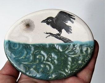 Happy Crow Tea Bag Holder Collectible Spoon Rest Ceramic Ring Dish Raven Porcelain Home Decor