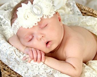 Ivory Lace Headband,  Baby Shabby Chic headband,  newborn girl flower Bow