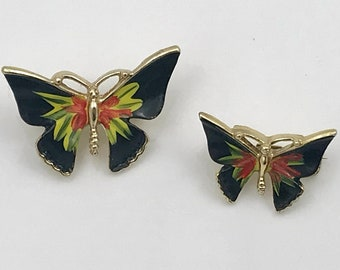 Pair of Black Butterfly Scatter Pins - Hand-Painted Enamel