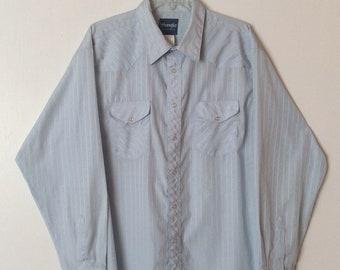 Wrangler Vintage Sky Blue Pearl Snap Western Shirt Cotton Blend Long Sleeve Mens Size XL