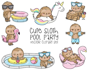 Premium Vector Clipart - Kawaii Sloth - Cute Sloth Pool Party Clipart - Pool Party - Instant Download - Kawaii Clipart