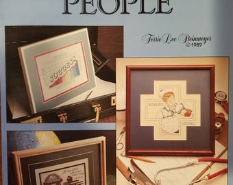 Professional People • Counted Cross Stitch Pattern • Leisure Arts 756 • Doctor Nurse Lawyer Engineer Architect • Vintage Leaflet Patterns
