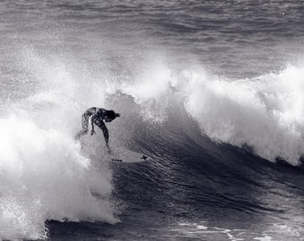 Surfing Photo Black & White - Surf Photography California - 8x12 B and W Photo - Metallic Paper