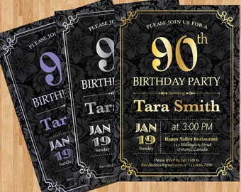 90th birthday invitation diamond milestone adult birthday 90th birthday invitation gold silver or any color chalkboard background birthday party invites printable adult birthday party diy filmwisefo