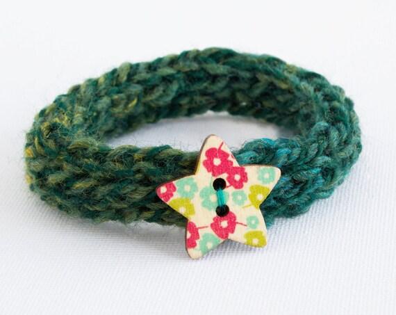 Forest Green Button Bangle • Stocking Stuffer Gift • Dark Green Textile Knitted Bangle • Secret Santa Gifts • Dark Green Knitted Bracelets