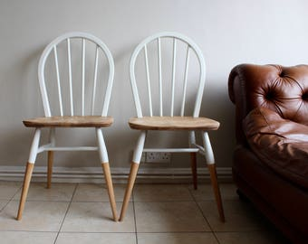 SOLD - Pair of Ercol hoop back dining chairs