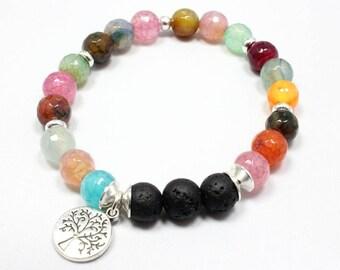 Agate Aromatherapy Bracelet, Tree of Life Bracelet, Beads of Life, Multicolor Bracelet, Essential Oil Jewelry, Spring Bracelet