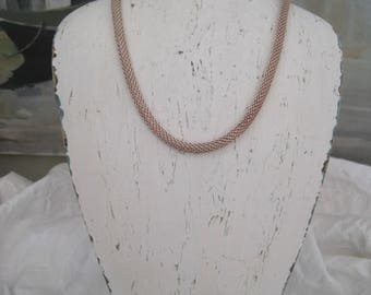 """Sterling Silver Mesh Necklace 17"""" Vintage Made in Italy"""