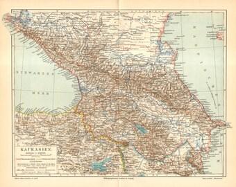 1905 Original Antique Map of the Caucasus or Caucasia