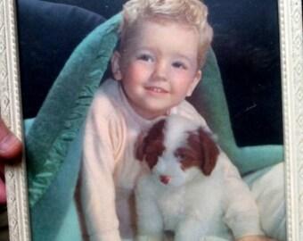 Sale-Vintage Framed Print Happy Little Rascal- Boy & Dog