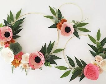 Rifle Paper Co Inspired Wreath Set || Rosa Floral Fabric || Felt Wreath || Wreaths || Flower Wreath || Spring Wreath || Felt Flower Wreath