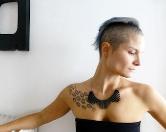 black geometric collar necklace, tribal minimalist contemporary jewelry