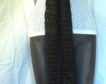 Black Scarf Extra Long 102x5 Inches Chunky Mans Womans Trending Cowl Dark Goth Crochet Knit Bohemian Steampunk Handmade Oversize Sherlock