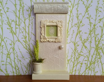Indoor Ivory Fairy Door with Baroque Window, Lace Curtain and Thread Spool Fairy Planter