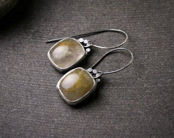 Oxidized sterling silver rutilated quartz bezel set drop dangle earrings