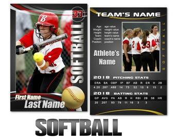 """Softball """"Graphite"""" Cards Templates"""