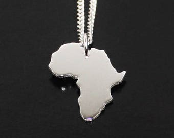 Africa Necklace Solid Silver 925 Continent Country Province State Necklace