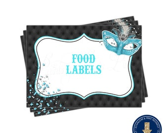 Masquerade (Aqua/Teal) Food Label Tent Cards | Printable | Instant Download | | Mardi Gras | Sweet 16 | Quinceañera