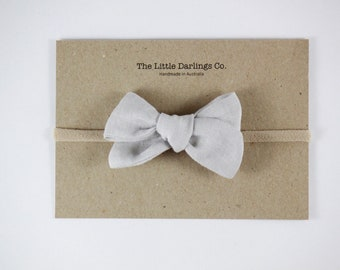 Hand Tied Hair Bow 100% Linen Small Pinwheel in Grey // Clip or Band