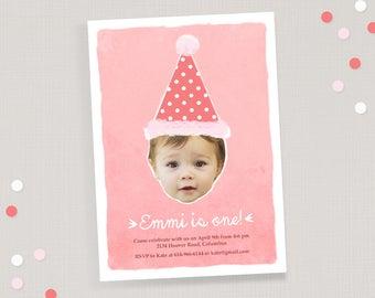 Pink Birthday Girl Invitation - Custom Photo Birthday Invite and Thank You Card