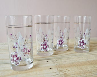 Purple Flower Tumblers, Set of Four Vintage Drinking Glasses, Made in Italy