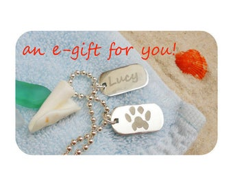 E Gift Card - 2 Silver Custom Personalized Paw Prints on Silver Necklace |Best Cat Dog Pet Lover Gift |Paw Print Personalized Silver Jewelry