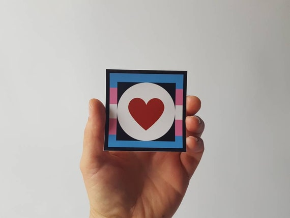 Sticker- Trans Pride with Red Heart and Logo Transgender Love