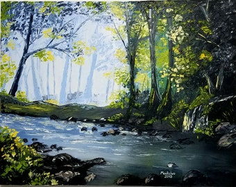 Beautiful oil painting. Ready to hang technique with spatula, forest, river, lake