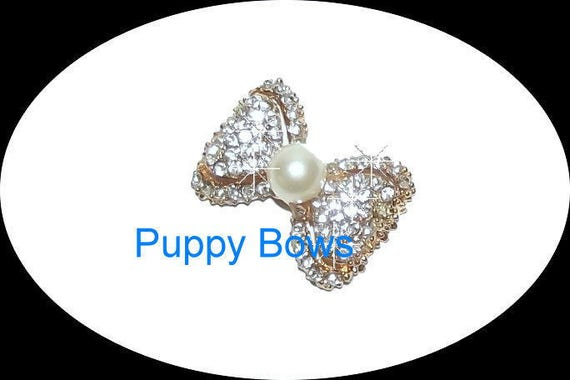 "Puppy Bows ~5 different styles PEARL rhinestone dog TIARA barrette pet hair clip small only 1""  ~USA seller"