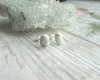 Natural White Howlite Stud Earrings - 925 Sterling Silver Gemstone Jewellery - White Earstuds