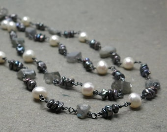 Labradorite Necklace White Pearls Keshi Pearls Long Wire Wrapped Oxidized Sterling Silver