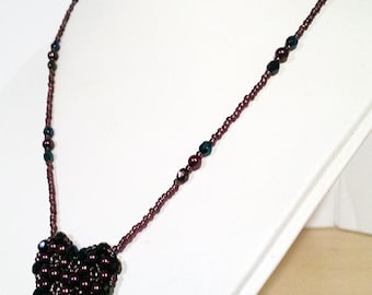 Burgundy Glass Pearl Pendant Necklace - Hand Beadwoven