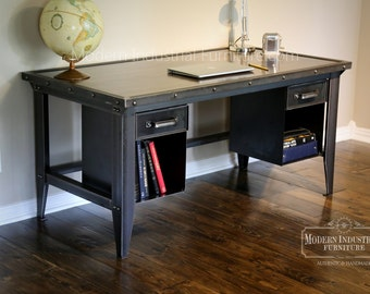 Machinist Tool Desk | Modern Industrial | Vintage Riveted Top with Bookcase drawers | Homework | Vintage Office | Retro | Mid-century