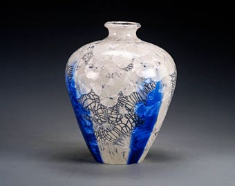 Ceramic Vase - White, Blue - Crystalline Glaze on High-Fired Porcelain - Hand Made Pottery - FREE SHIPPING - #B-5435
